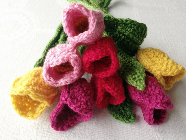 A whole bunch of crochet tulips
