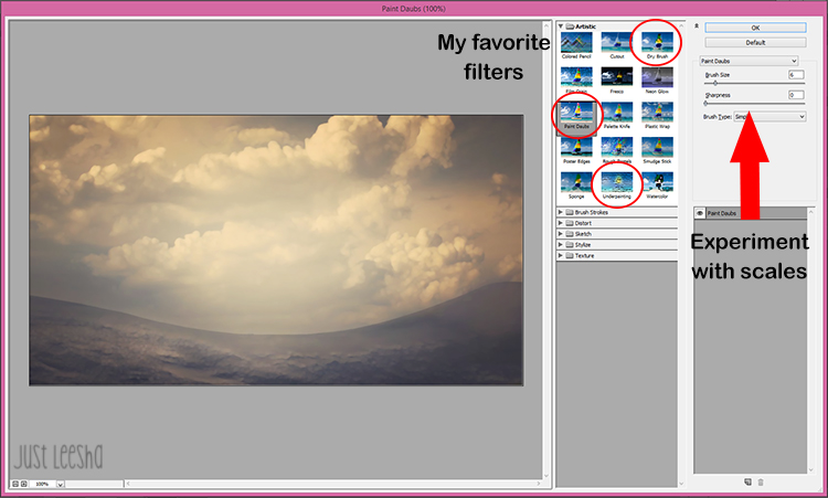 filter options in photoshop