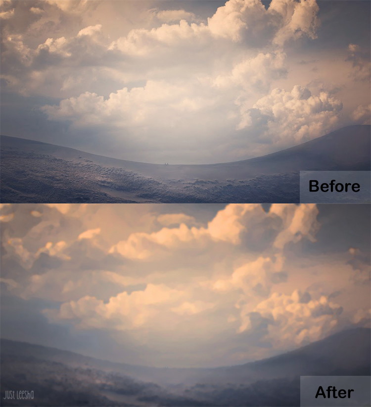 cloud landscape image before and after PhotoShop