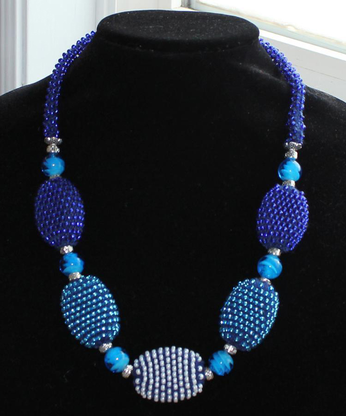 Beaded Necklace Knitting Project with knit jewelry beads