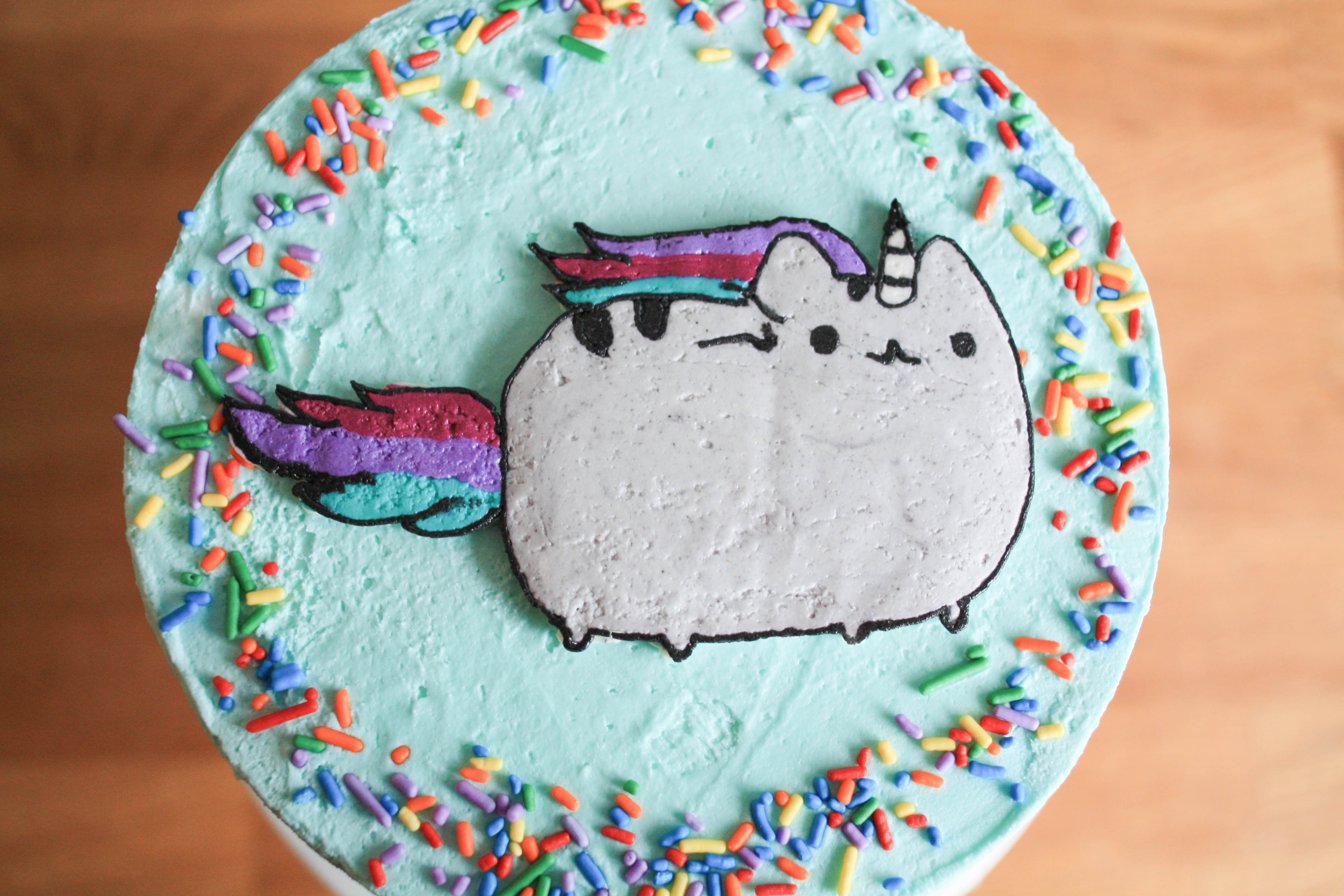 Finished Cake with a Cat Buttercream Transfer Image