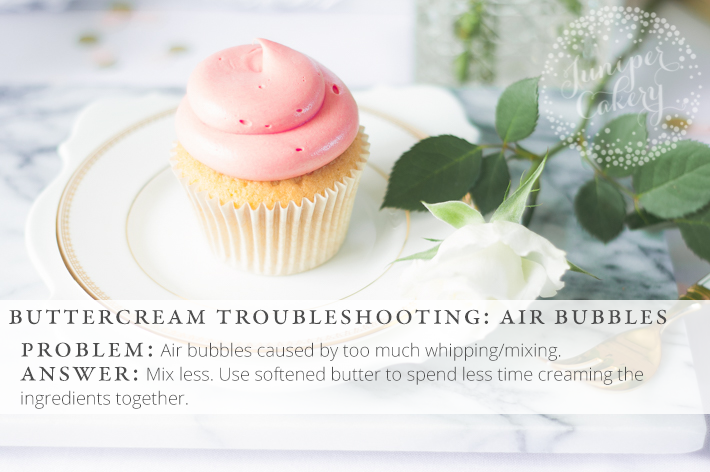 Solve those pesky air bubbles in frosting with these handy buttercream troubleshooting tips and advice!