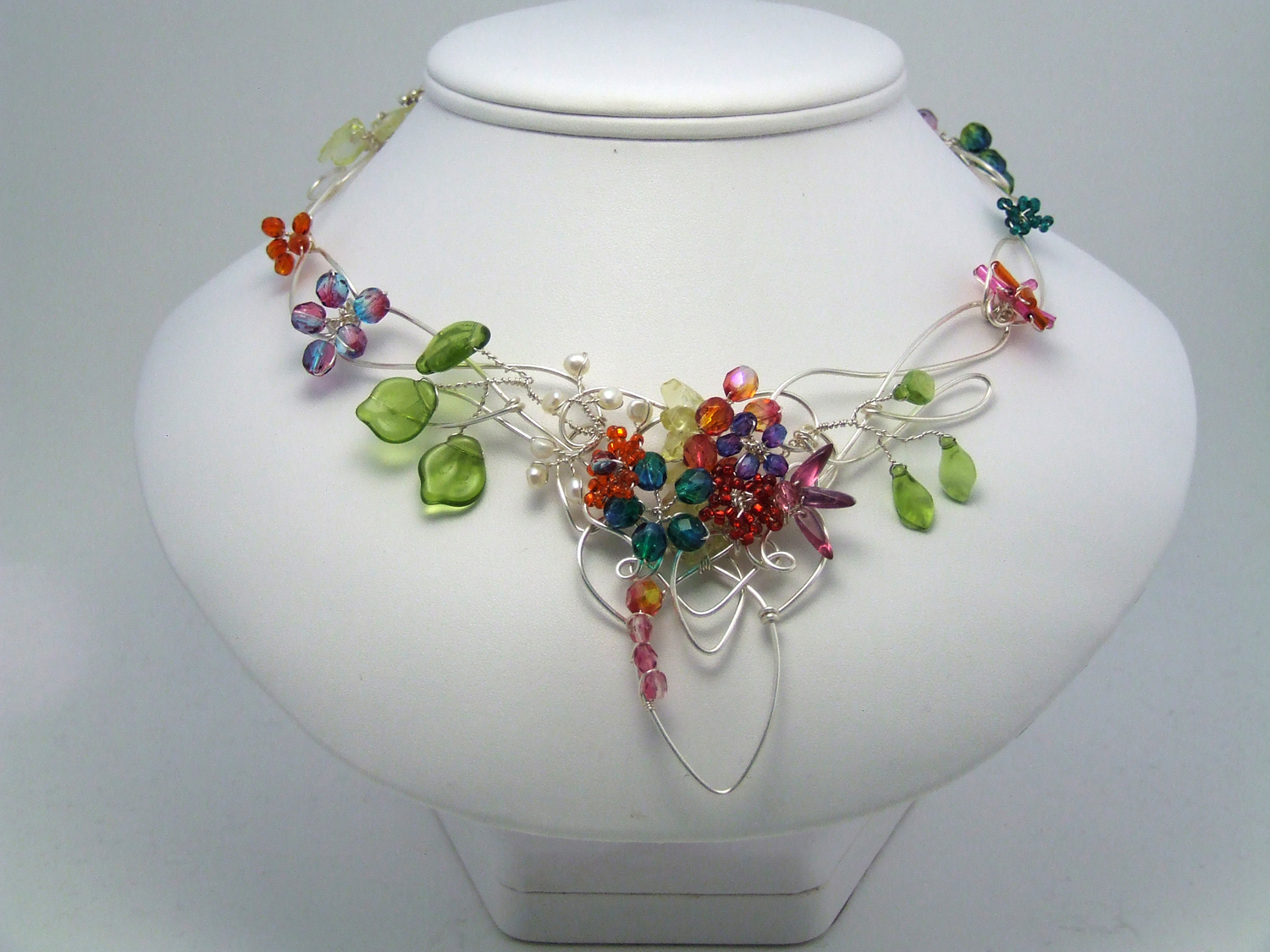 celtic garden necklace with wire bead flowers by Gayle Bird
