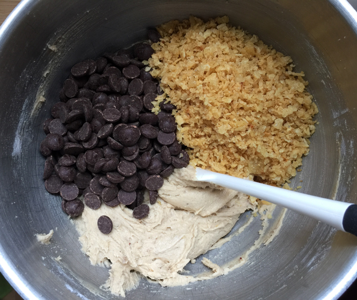 mixing cookie dough
