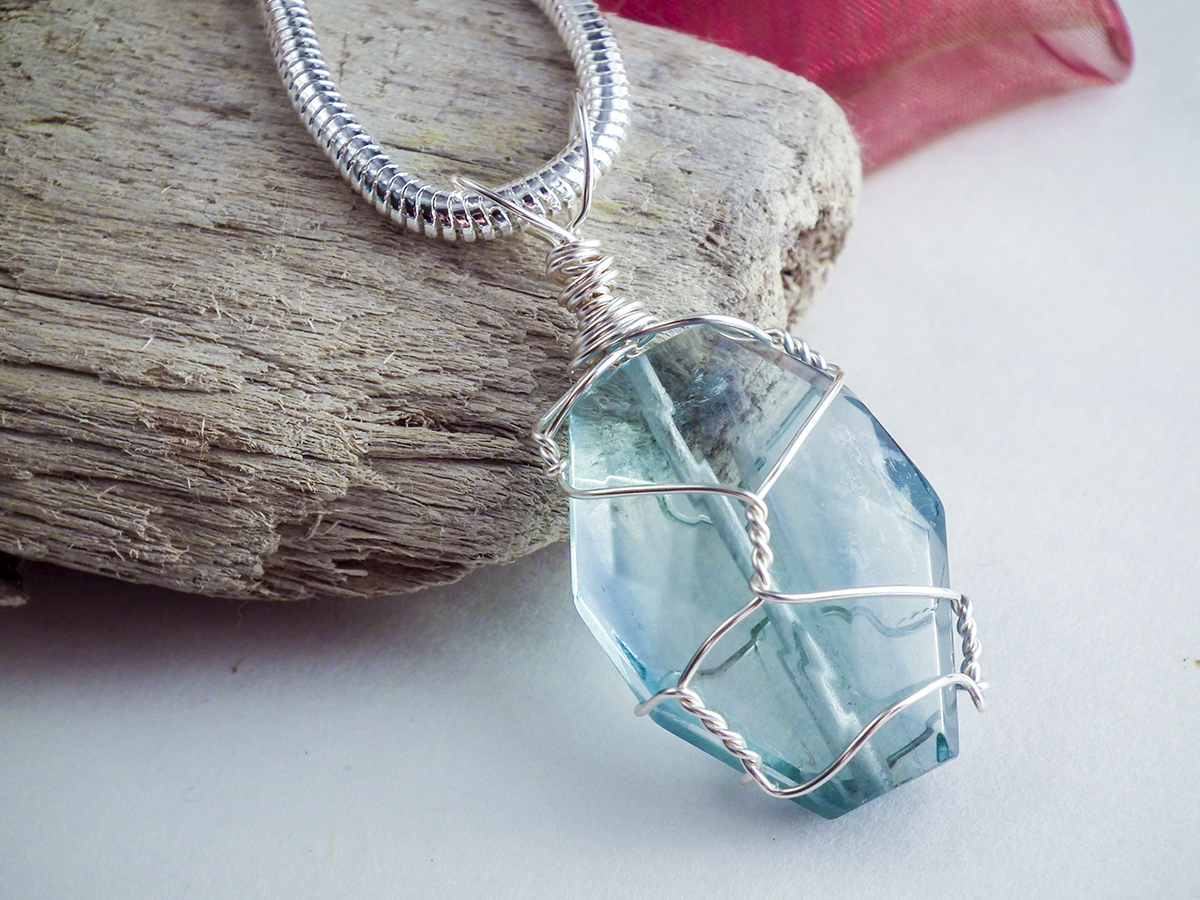 Wire-wrapped Fluorite pendant