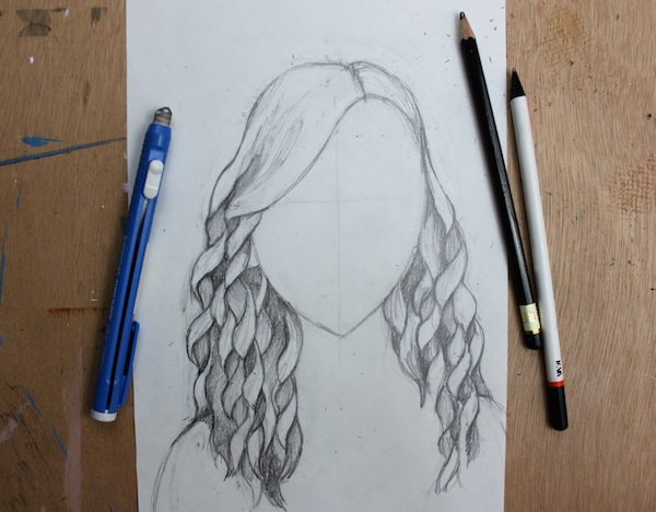 Finished curly hair drawing