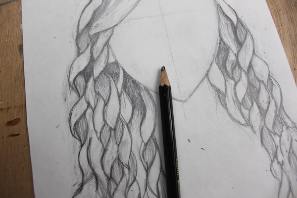 detail of shading curly hair