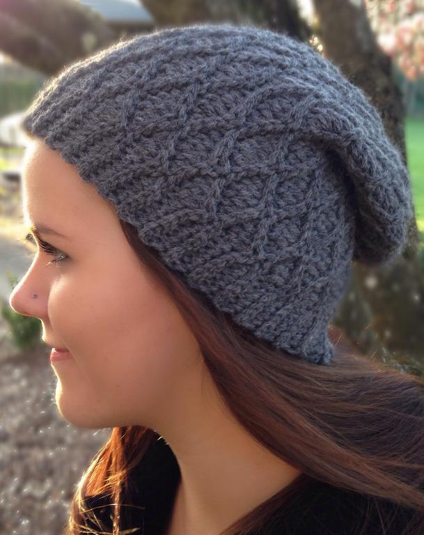 diamond crochet slouch hat