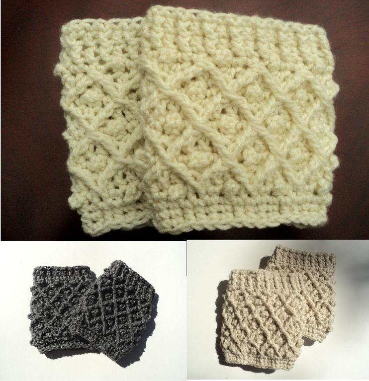 diamond stitch crochet boot cuffs