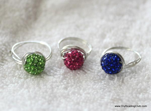 Adjustable Wired Ring with Sparkling Bead Tutorial