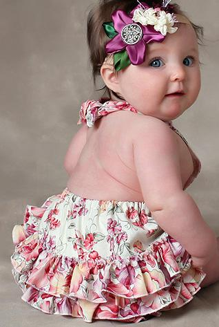 baby with ruffle dress