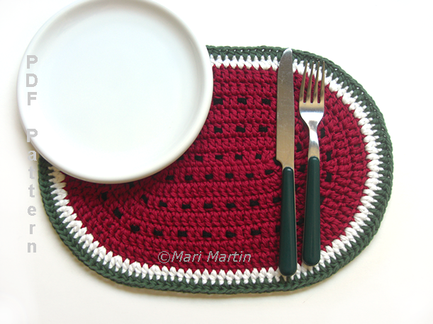 Watermelon Crochet Placemat Pattern