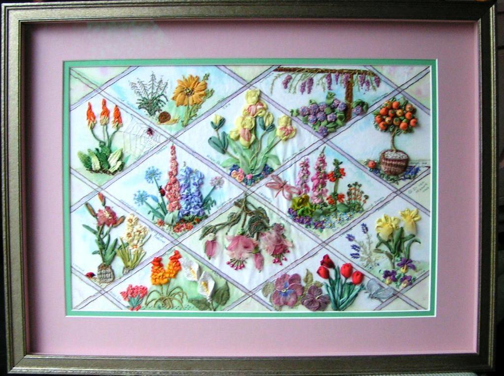 Beautiful examples of ribbon embroidered flowers from member sewphiamia