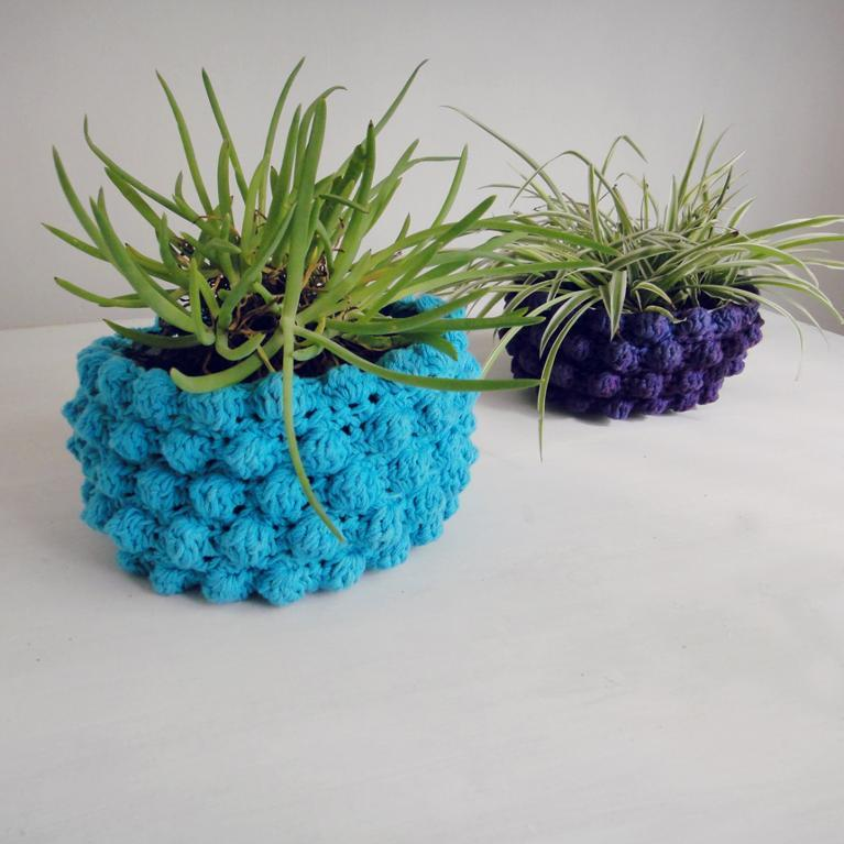 Pot Holder Basket Bubble Crochet Pattern
