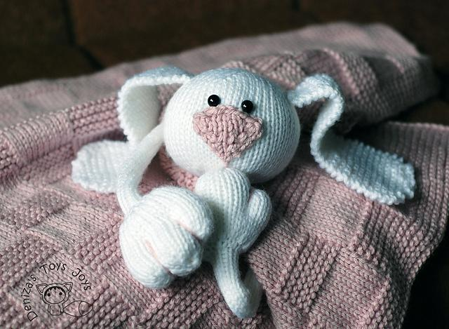 Pink Baby Bunny Toy Blanket Knitting Pattern