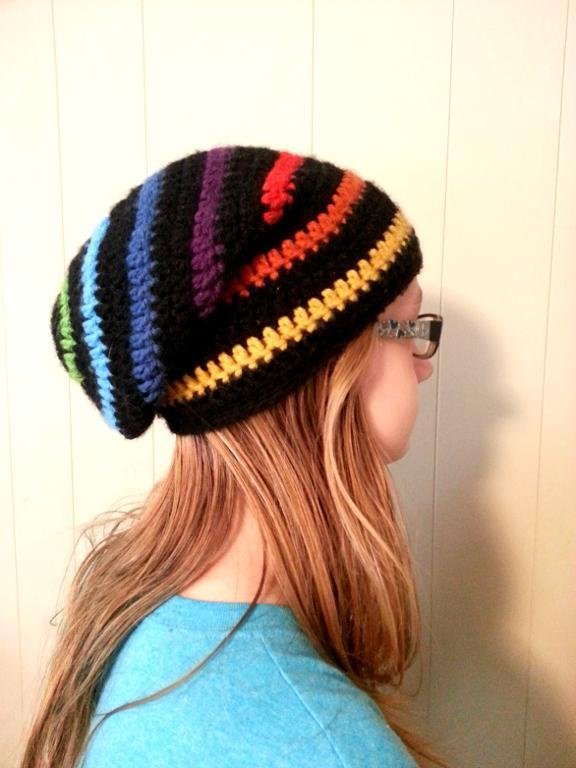 Rainbow Slouchy Beanie Hat Crochet Pattern