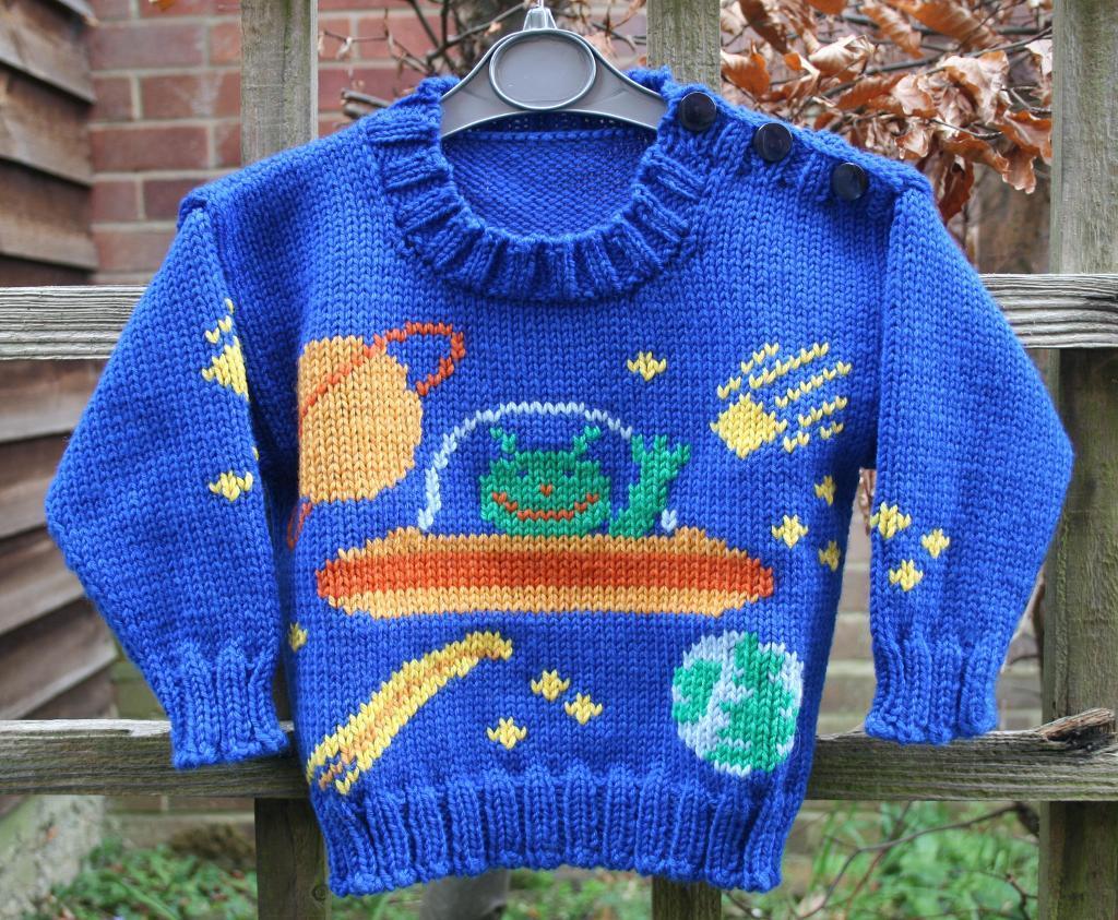 Aliens in Space Sweater Knitting Pattern