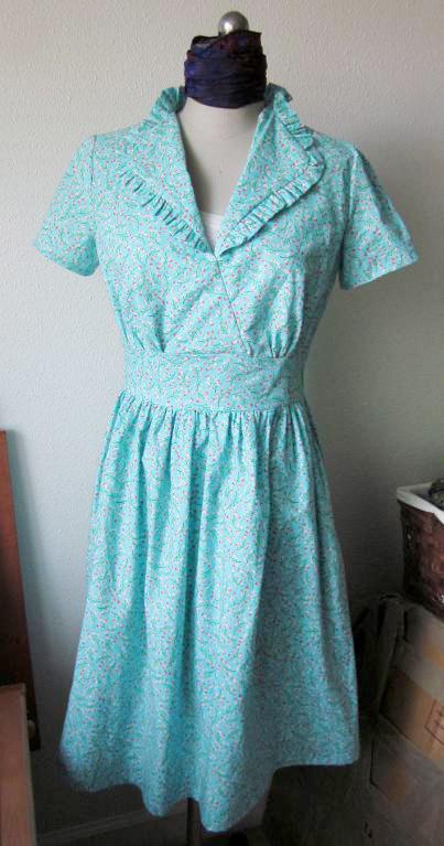 aqua floral vintage style dress