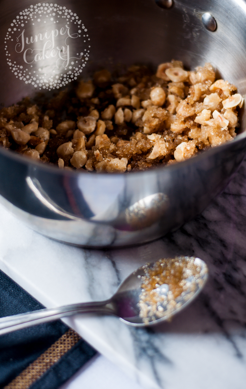Mixing hazelnut praline ingredients