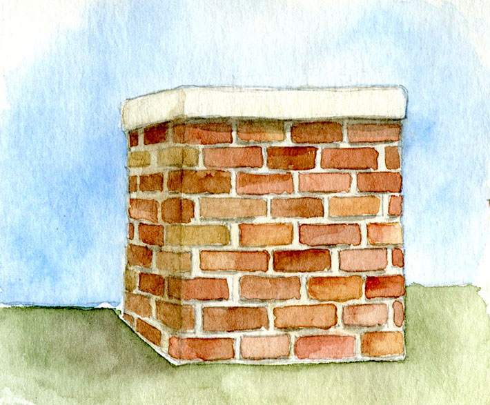Old brick chimney painted with watercolors