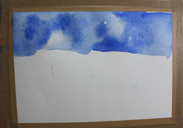 beginning of watercolor painting