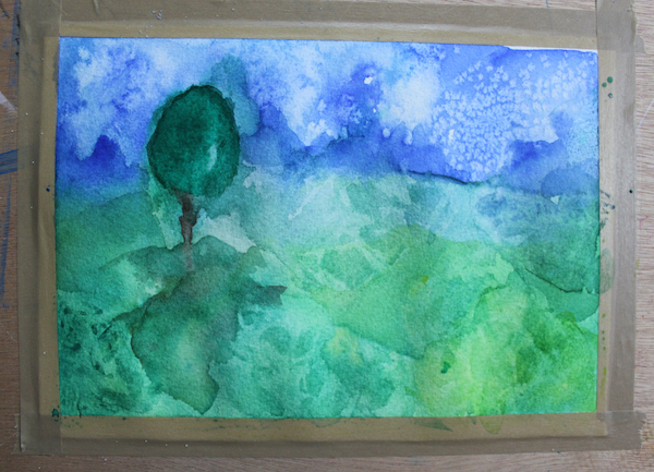 completed watercolor abstract landscape painting