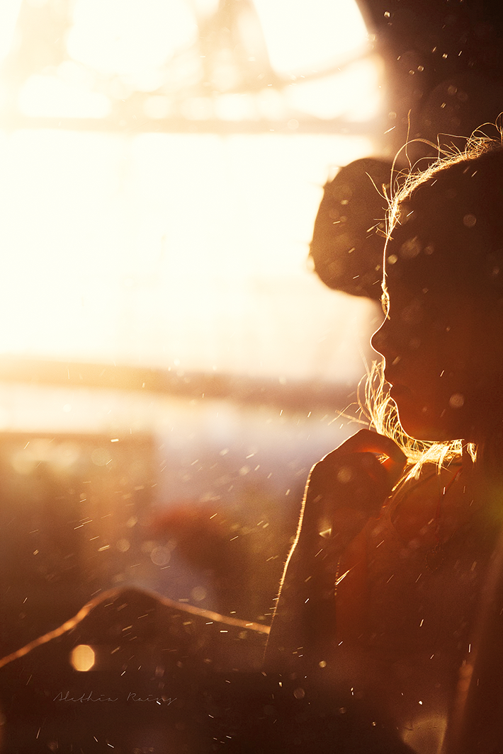 girl in sunlight with dusty lens
