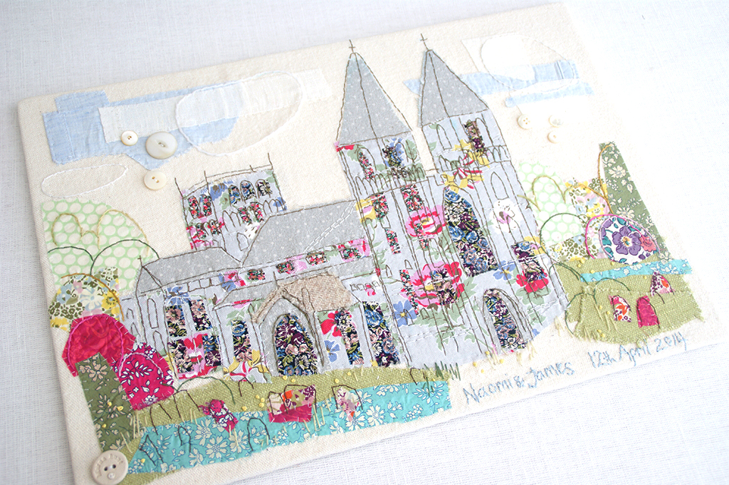 Hand stitched wedding venue portrait by marna Lunt
