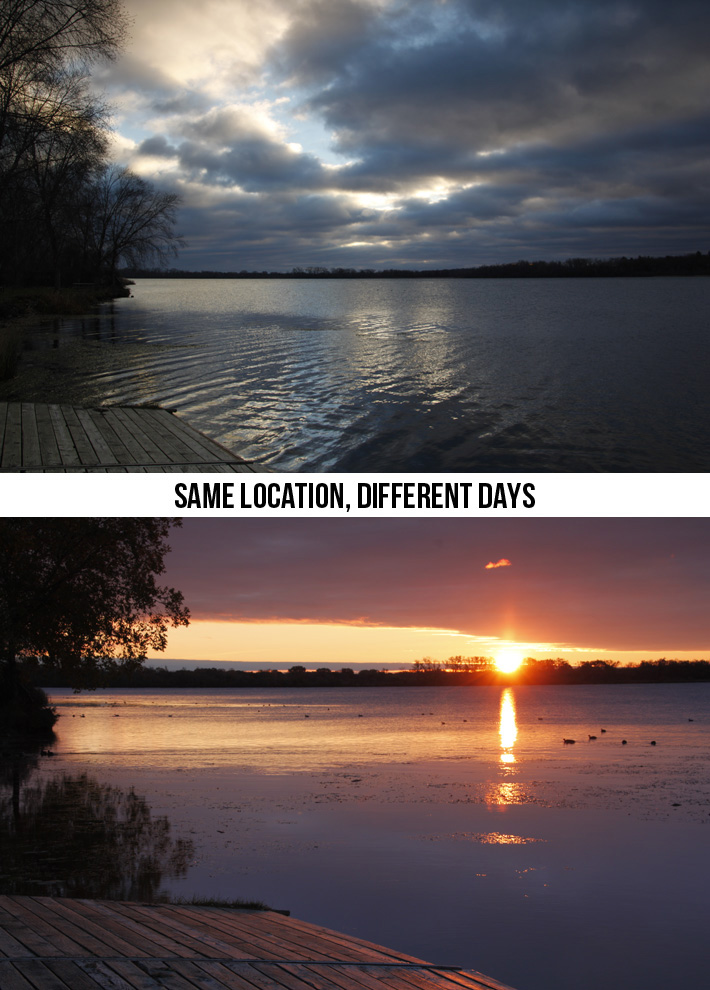 Comparison of two photographs of a lake at sunrise