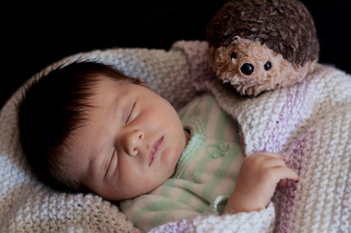 newborn baby photographed with special toy and blanket