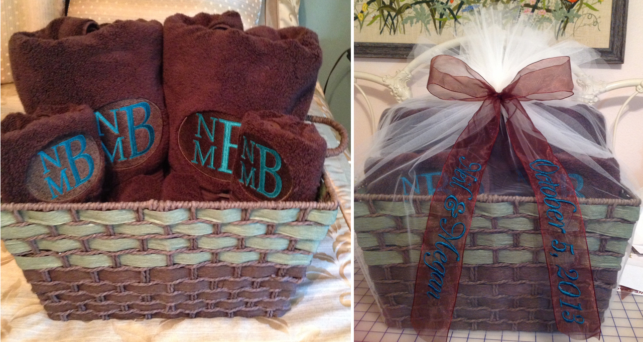 monogrammed towels and ribbon