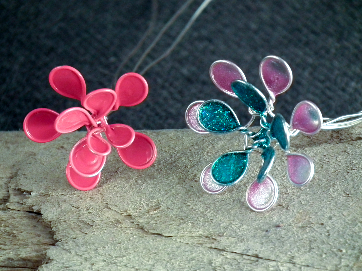 stacked wire nail polish flowers