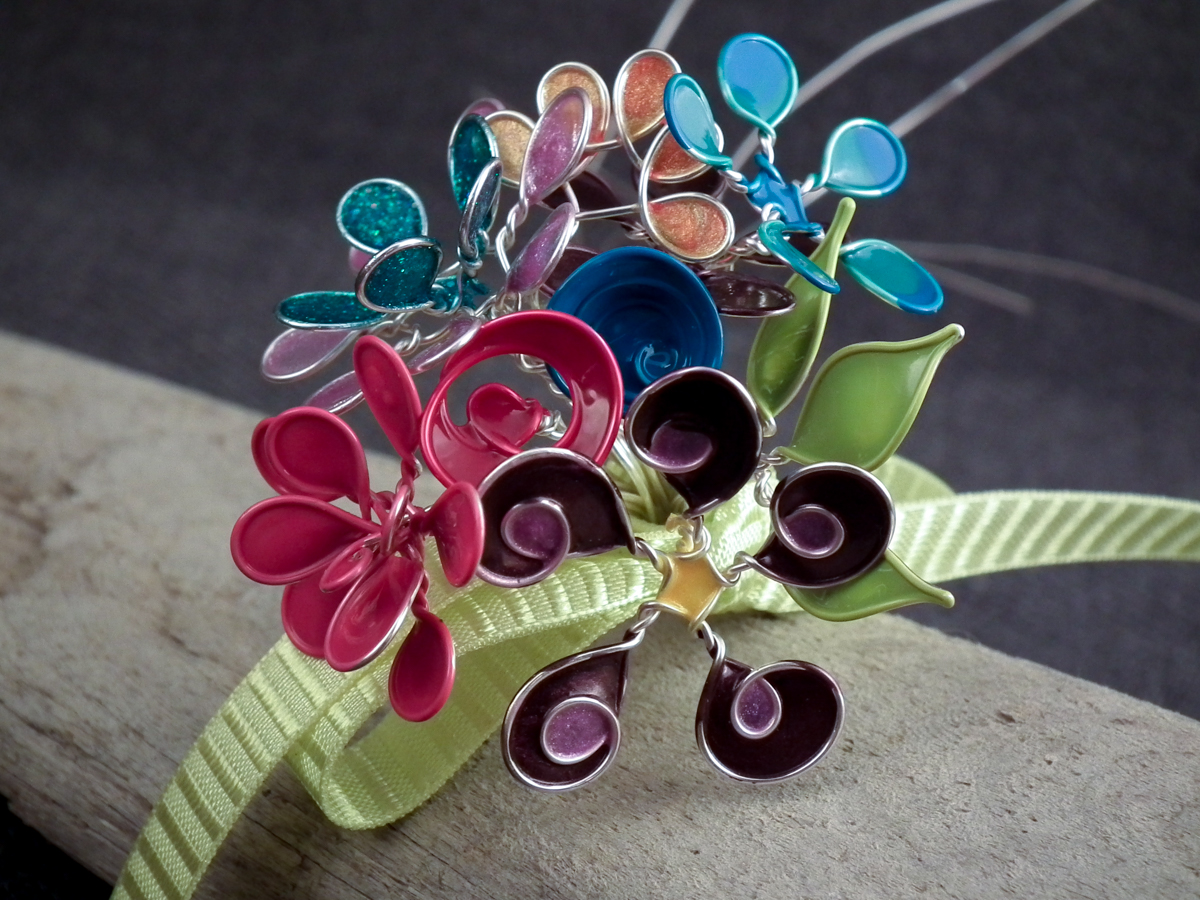 wire nail polish flower bouquet