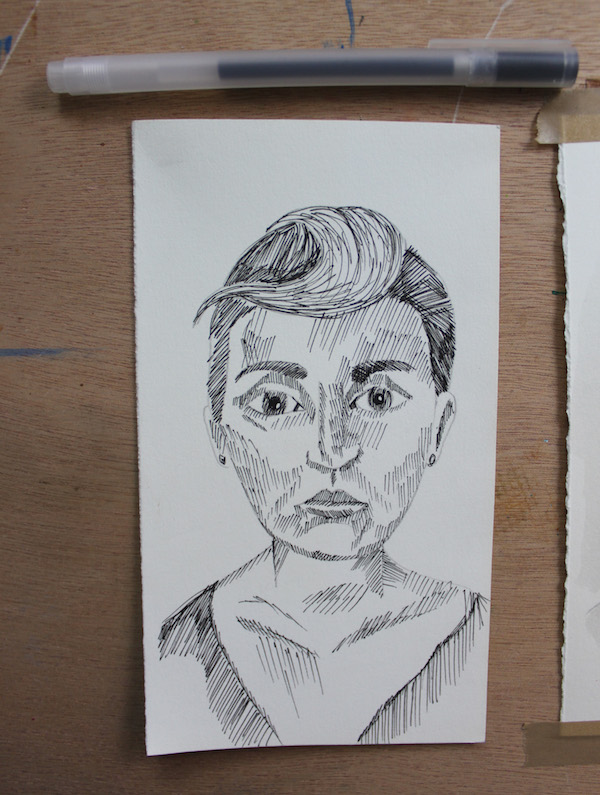 First step of pen portrait drawing