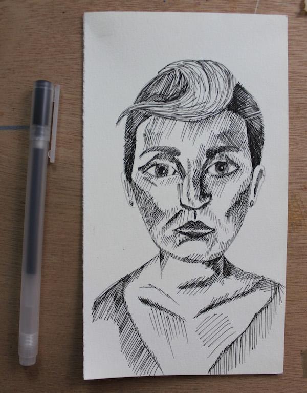 Pen drawing portrait step 2