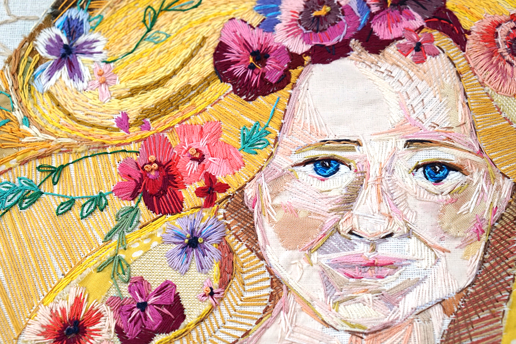 Flowers in a girls hair by Marna Lunt