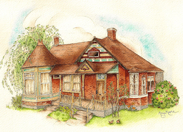 Brick house done with watercolors
