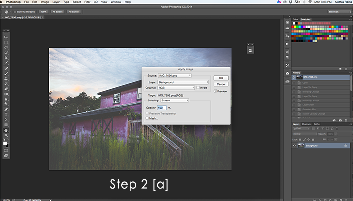 barn image in photoshop with apply image dialog box