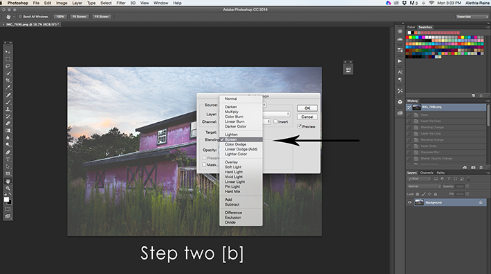 barn image in photoshop selecting screen mode