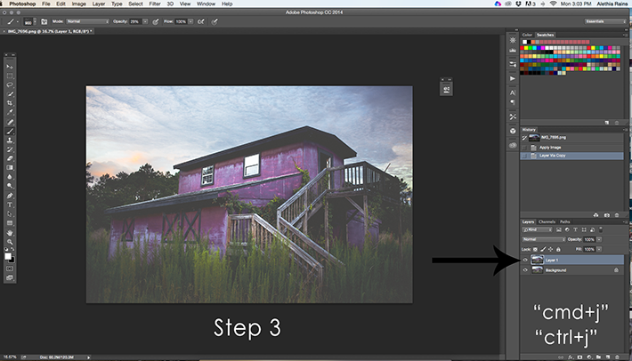 barn image in photoshop duplicating layer
