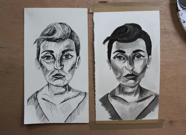 Two drawings side by side