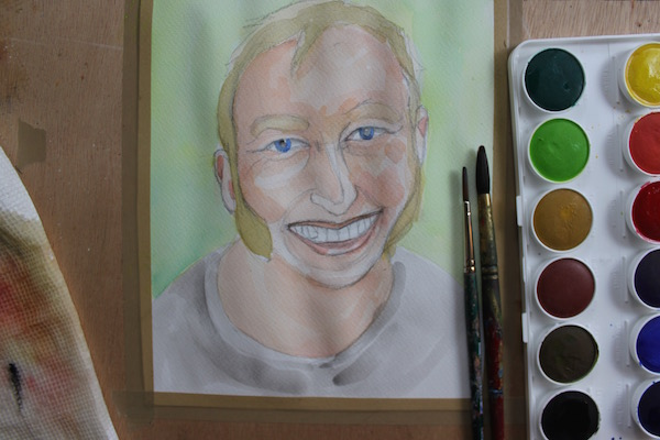 Watercolor painting - second layer on face