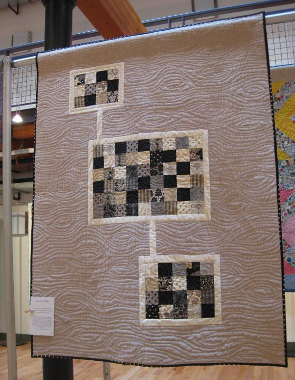 woodgrain free motion quilting design
