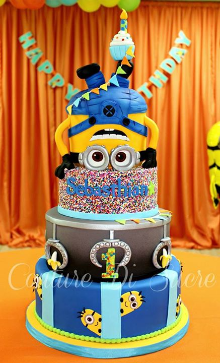 Stacked Minion cake