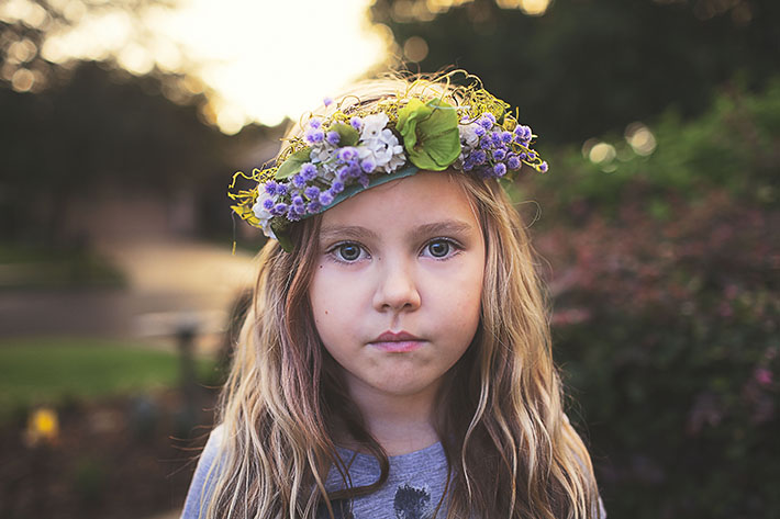 Photo of a Girl in Purple Flower Crown