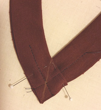 V stitched in place