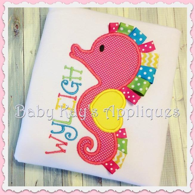 3D Ribbon Seahorse Applique Design