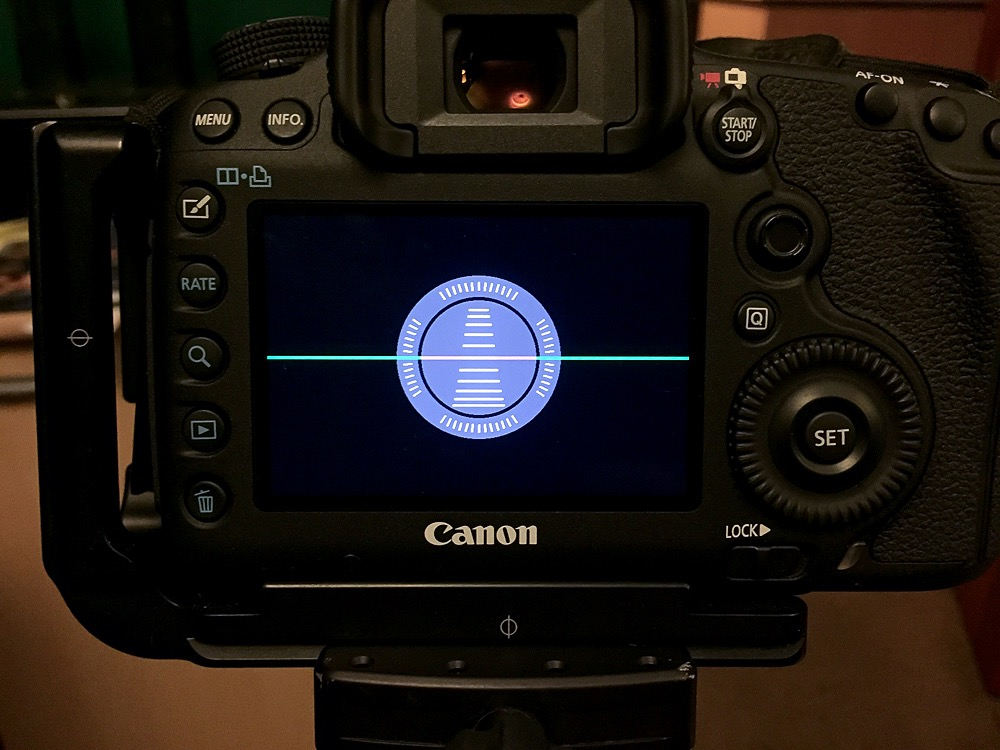 Level displayed on a Canon 5D MkIII LCD screen.