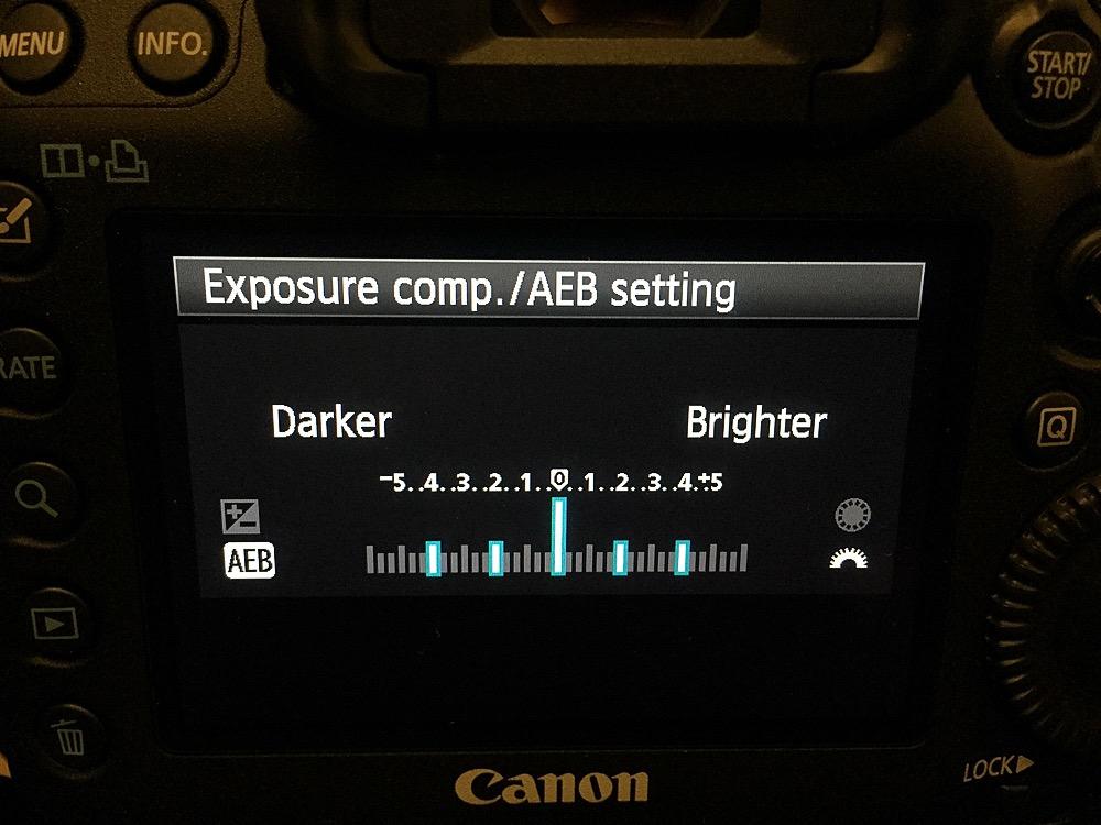 Auto Exposure set on a Canon 5D MkIII