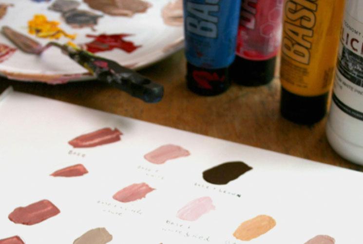 mixing skin tone acrylic paints